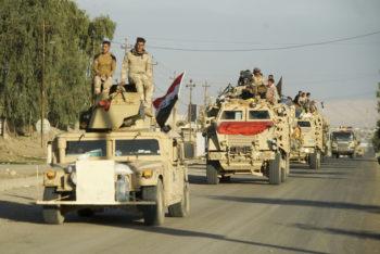 Iraqi army convoy. Mosul, Northern Iraq, Western Asia. 17 November, 2016.