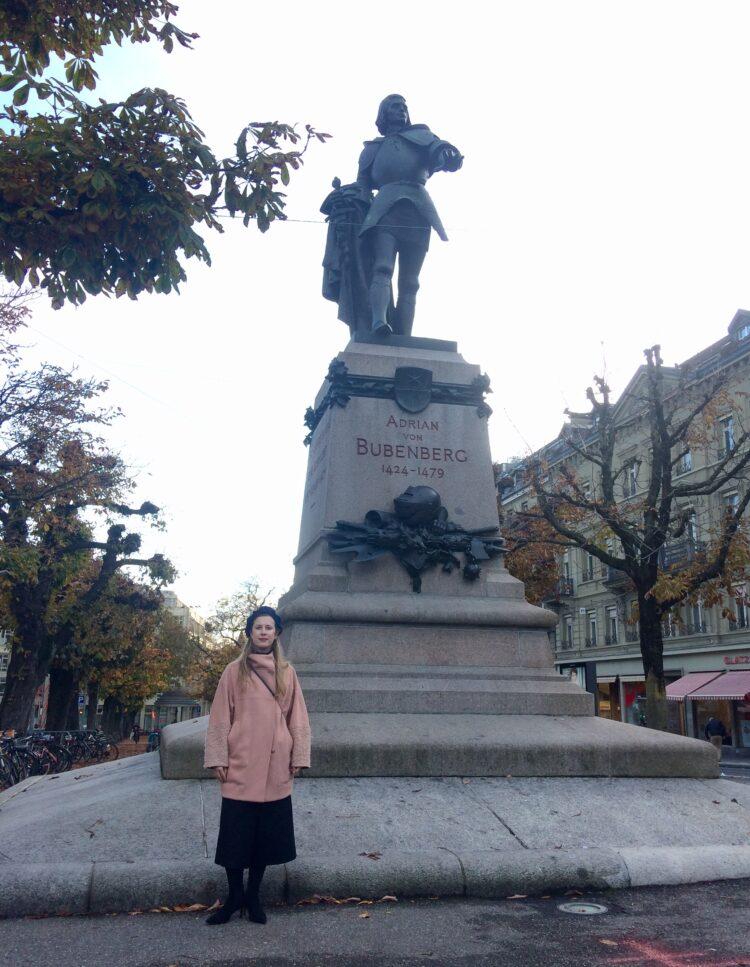 Natalie Bertsch (GLP) beim Bubenbergdenkmal