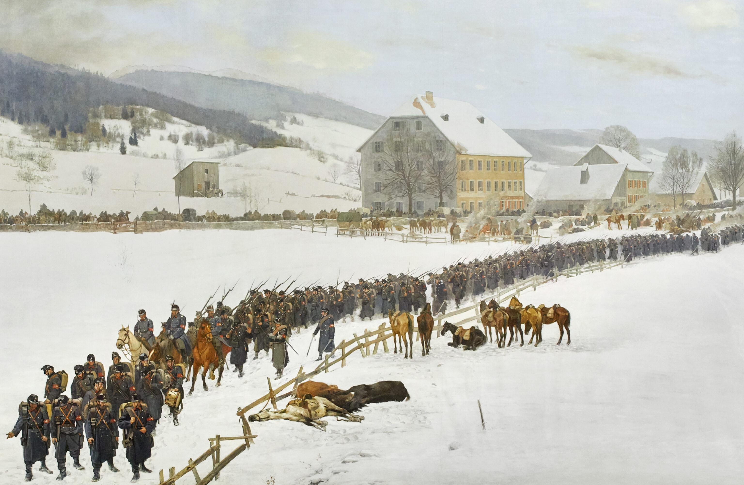 """""""Ein Berner Regiment schreitet zur Hilfe"""" Detail Bourbaki Panorama Luzern, Edouard Castres, 1881, Oel auf Leinwand"""